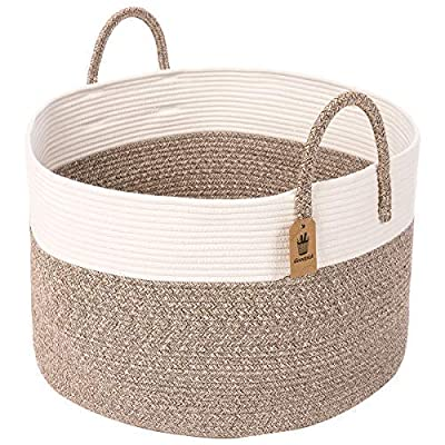"""INDRESSME Cotton Rope Basket   Extra Large Woven Hamper Basket with Handles Nursery Storage Baby Laundry Basket Rope Storage Bin for Organizer Toys, Pillow 20"""" D x 13"""" H - 100% Safe Material with Excellent Workmanship - Our Woven Basket made of cotton rope,non toxic, safe and healthy, without any chemicals. A reliable basket for nursery room. LARGE BASKET DIMENSION: 20""""D x 13""""H Soft Storage Basket for Baby - Woven large storage bin best for baby stuff, like baby toys, baby clothes, laundry ,throw pillows, blankets, comforter or cushions etc. A reliable basket for nursery room and no more clutters and messes in any corner, creat your tidy and warm home Large Basket with 2 large Handles -The baby laundry hamper feature large easy-to-grab handles for maximum portability. The handle has no metal or plastic parts so it's safe for children and pets. Our customers use our big basket as a toy basket for toy storage, stuffed animal storage, clothes storage, blanket storage, towel storage, dog toy storage, yoga mats, or whatever - living-room-decor, living-room, baskets-storage - 51tJszIkgrL. SS400  -"""