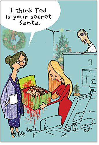 12 'Zombie Secret Santa' Boxed Christmas Cards with Envelopes 4.63 x 6.75 inch, Funny Zombie and Brains Christmas Cartoon Holiday Notes, Hilarious Christmas Stationery B1181