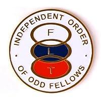 Odd Fellows Round Masonic Auto Emblem - [White & Gold][3'' Diameter]