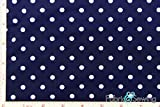 (US) Navy and White Polka Dot Full Dull Tricot Swimwear Fabric 4 Way Stretch Nylon Spandex Lycra 6 Oz 58-60