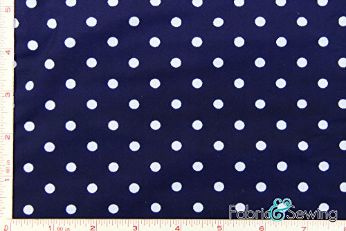 Nylon Lycra Spandex Fabric - Navy and White Polka Dot Full Dull Tricot Swimwear Fabric 4 Way Stretch Nylon Spandex Lycra 6 Oz 58-60
