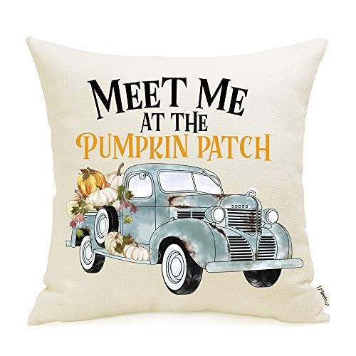 Meekio Fall Decorations for Home Fall Pillow Covers 18 x 18 Pumkin Truck Cushion Covers for Fall Decor Thanksgiving Gifts