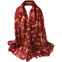 Christmas Long Scarf,Han Shi Women Deer Printing Soft Wrap Shawl Stole Pashmina Blanket