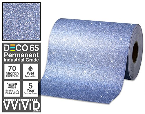 VViViD Glitter Blue DECO65 Permanent Adhesive Craft Vinyl Roll for Cricut, Silhouette & Cameo (1ft x 6ft)