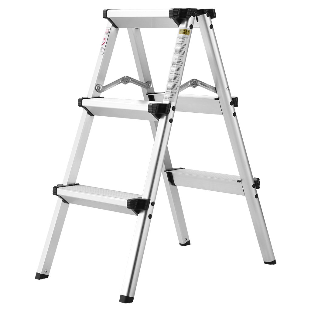 Finether Folding 3 Step Aluminum Ladder 300lb Capacity, Portable Step Stool for Home,Kitchen, Garden, Office, Warehouse