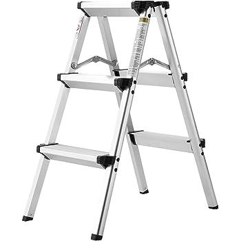 Finether Folding 3 Step Aluminum Ladder 300lb Capacity