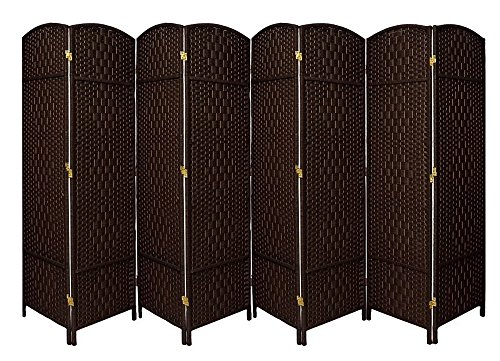 Extra Wide-Diamond Weave Fiber Room Divider, 8 panel room divider/screen,room dividers and folding privacy screens 8 panel&Room dividers and folding privacy screens-DarkMocha 8 Panels (Panel Folding Room Divider)