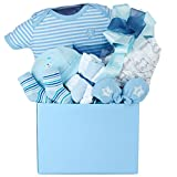 A Little Love Baby Boy Gift Basket with Cotton Onesie, Swaddling Blanket, Hat, Socks, Non-Scratch Mittens and Washclothes
