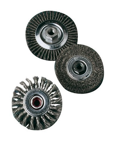 SAIT 06431 4' x .014 x 5/8-11 Arbor Stainless Bristle Regular Twist Knot & Crimped Style Angle Grinder Wire Wheel