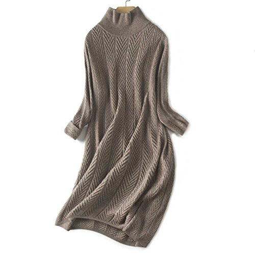 FINCATI Winter Spring Sweater Dress Women Cozy Soft Cashmere Wool Knited Oversized Casual Style (Geometric Camel, Free Size)