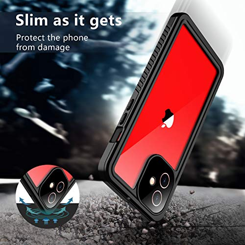 """SPIDERCASE Only for iPhone 12 Case, Waterproof Built-in Screen Protector, Shockproof Full Body Cover Rugged Case Designed for iPhone 12 6.1"""" 2020 Released, Black/Clear"""