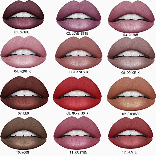 Ownest 12 Colors SuperStay Matte Ink Liquid Lipstick,Waterproof Long Lasting Durable Matte Liquid Lipstick, Fashionable Colors Lipsticks Set,Matte Lip Gloss