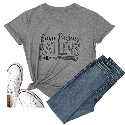 Hellopopgo Women Busy Raising Ballers I Only Raise Ballers Letter Print Soft T-Shirt Tops Tee Mama Life (Small, Grey)