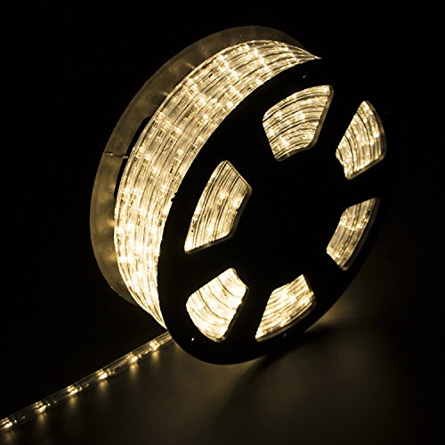 Ainfox LED Rope Light, 100Ft 1080 LEDs Indoor Outdoor Waterproof LED Strip Lights Decorative Lighting (Warm White)