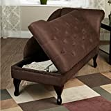 Modern Storage Chaise Lounge Chair - This Tufted Cushions is Microfiber Upholstered - Perfect For Your Living Room, Bedroom, or Any Space in Your Home - Satisfaction Guaranteed! (Chocolate)