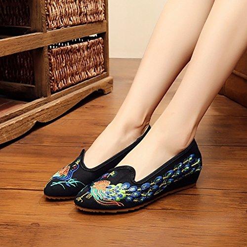 Elementos Zapatos folk bordados lona Zapatos chinos Old de mujer novia antideslizantes zapatos Beijing Zapatos Zapatos fondo de custom de planas manual de bordado blando tela de zapatos Sandalias AAq6wE8p