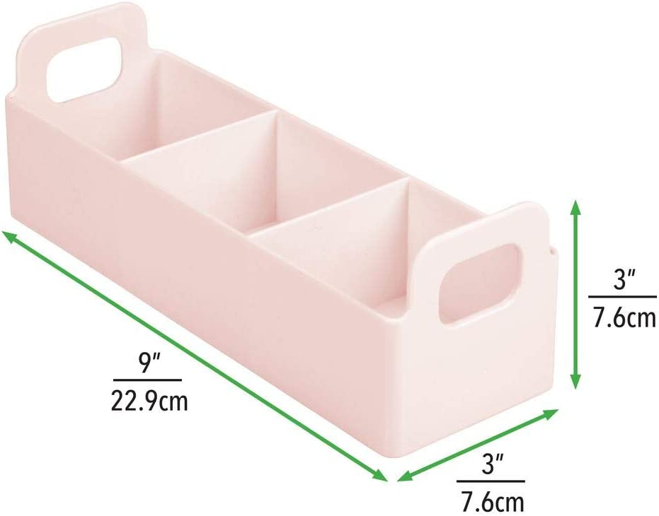 Cesta con asa y 3 compartimentos para guardar t/é rosa caf/é Pr/áctica caja de almacenaje con asa para cocina y despensa especias y otros alimentos mDesign Organizador de cocina