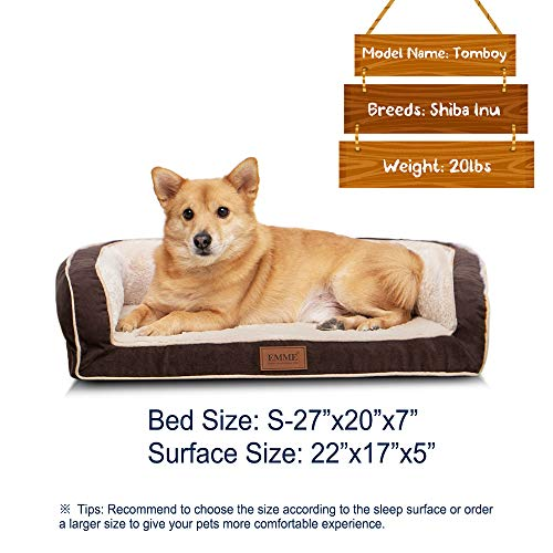 EMME Orthopedic Dog Beds 27/36/44/50 inches for Small, Medium and Large Dogs & Cats Removable Cover Dog Sofa Bed Ultra Plush Deluxe Dog Couch Pet Bed (Coffee, Small)