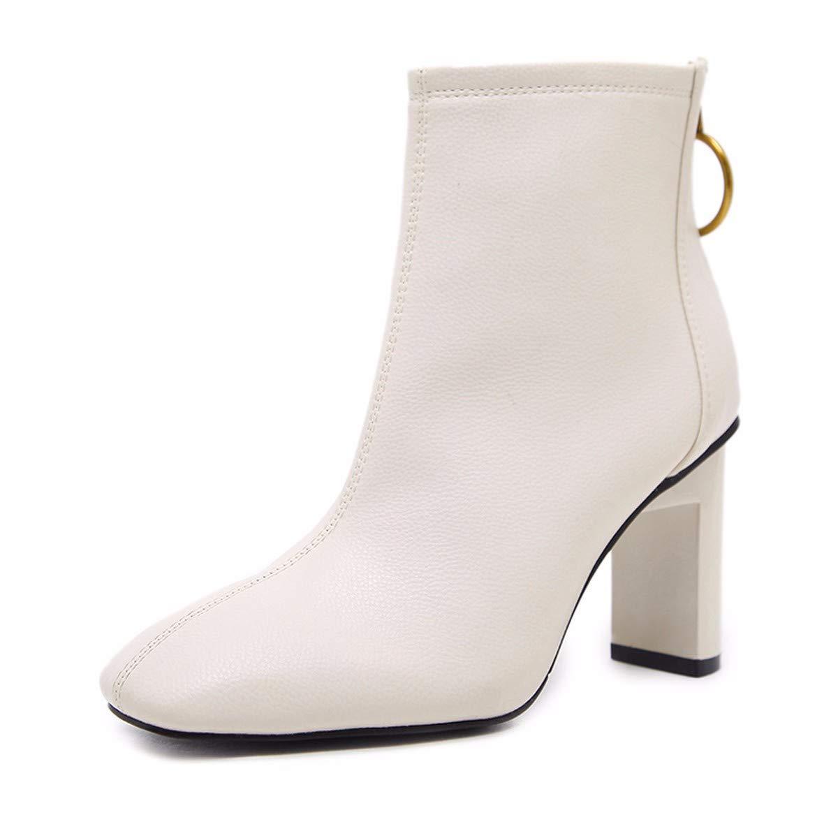 LBTSQ-Mode Damenschuhe Damenschuhe LBTSQ-Mode Weiße Stiefel Mit Hohen 8Cm Im Frühjahr Und Herbst Persönlichkeit Nackt Stiefeln Dicken Heels Stiefel Martin Winter. 1c80d3