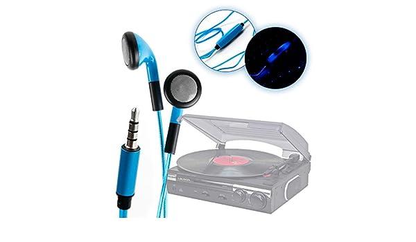 DURAGADGET Auriculares In-Ear Con Luz LED Azul Para Tocadiscos ...