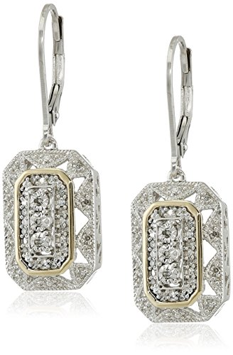 - Sterling Silver and 14k Yellow Gold Diamond Art Deco-Style Drop Earrings (0.15 cttw, I-J Color, I2-I3 Clarity)