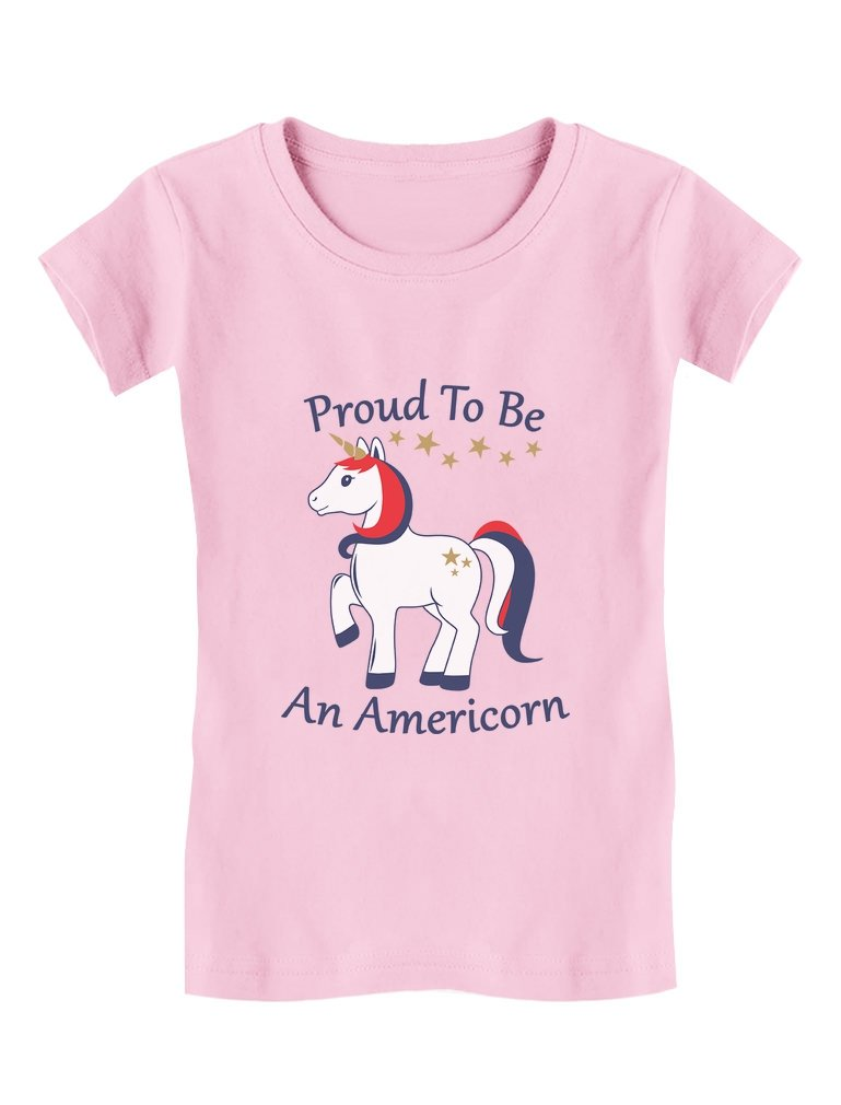 Proud to Be an Americorn 4th of July Unicorn Toddler/Kids Girls' Fitted T-Shirt 5/6 Pink
