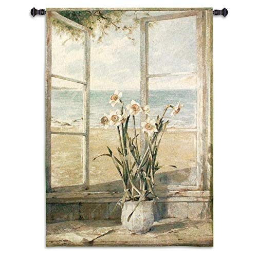 Ocean Narcissus by Fabrice De Villeneuve - Woven Tapestry Wall Art Hanging - Seascape Still Life Flower & Beach House Window Scene - 100% Cotton - USA 53X38 - Fine Art Tapestry Wall Hanging