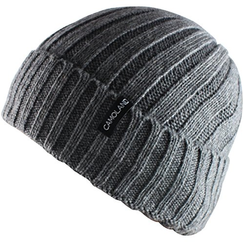 (CAMOLAND Men's Fleece Wool Cable Knit Winter Beanie Hat(Grey) )