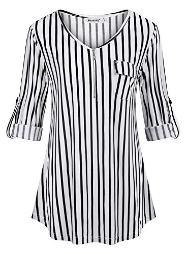 Ninedaily Striped Blouses for Women, Black and White Printed Polo Shirts Long Sleeve Heart Neck Sweety Cute Tunics T-Shirts Flattering Tops Tie Belt Zipper Front,Size XL -