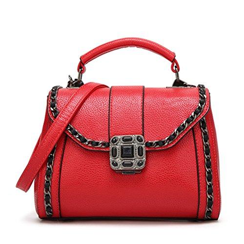 FuweiEncore Bolso de hombro de cuero de la vendimia de las mujeres Elegante bolso de hombro de cadena pequeño (Color : Negro, tamaño : Un tamaño) Rojo