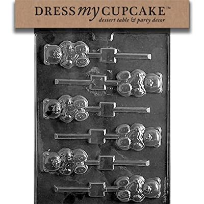 Dress My Cupcake Chocolate Candy Mold, Teddy Bear with Heart Lollipop, Valentine's Day