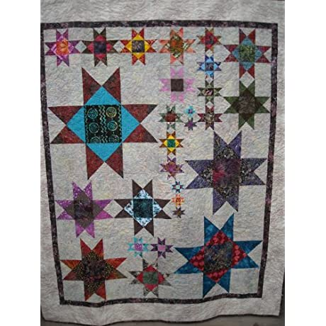 Full Size Quilt 69 X84 Stars Of The North Hand Crafted By Jenna Hass From Top Quality Batiks And Cotton