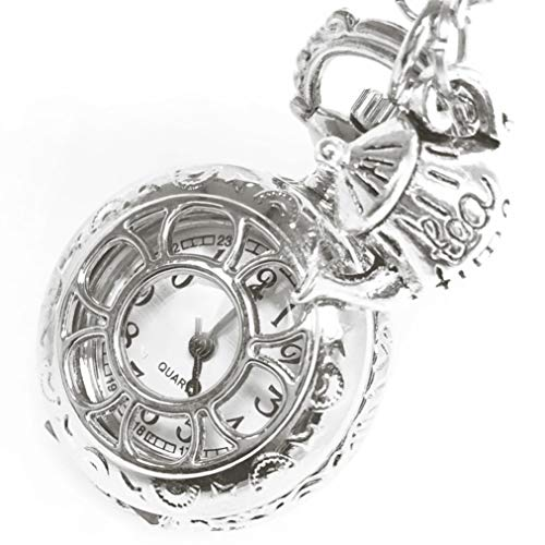 UMBRELLALABORATORY Steampunk Pocket Watch Necklace | Victorian Style, Silver Finish Handmade Kawaii Accessory
