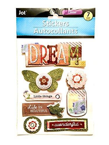 tickers - Glitter Pop Out Stickers - Pop Up Stickers - Mason Jar Sticker - Life Is Beautiful Sticker ()