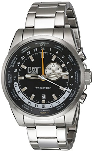 CAT World Timer Multifunction GMT Men's Date Watch Black Dial Link Band WT14511122 (Watch Date Gmt)