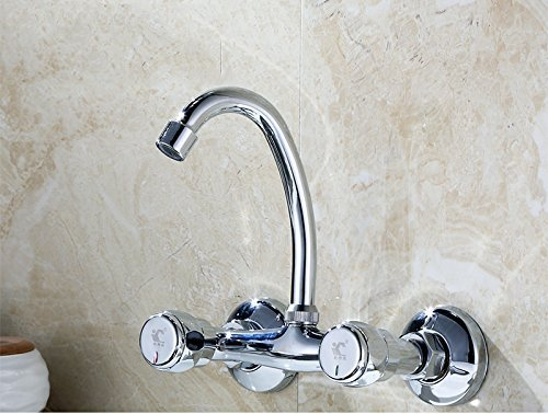 JFFFFWI Faucet, Double Handle Double Open Kitchen Laundry Pool Balcony Hot and Cold Water Faucet All Bronze Into The Wall Vertical Mixing Valve