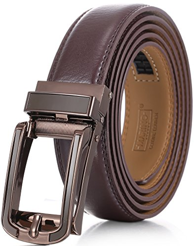 Marino Avenue Mens Genuine Leather Ratchet Dress Belt with Open Linxx Leather Buckle, Enclosed in an Elegant Gift Box - Gunblack Silver Round Open Buckle W/Brown Leather - Custom Up to 44