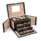 HEZALA Jewelry Box, Faux Leather Jewelry Organizer Lockable Travel Storage Display Case with Mirror for Girls Women, Black