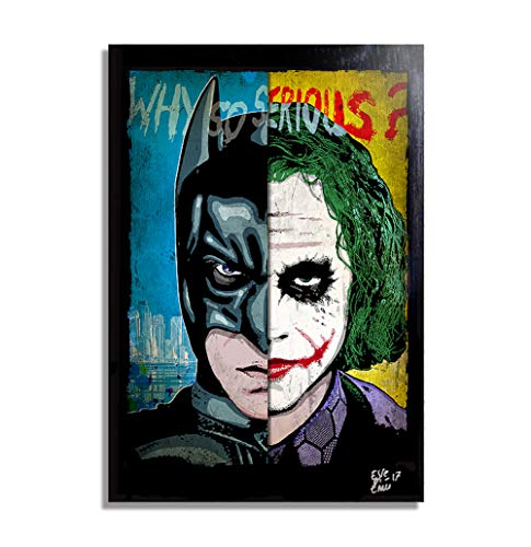 Batman Dark Knight vs Joker (Heath Ledger) Dc Comics - Pop-Art Original Framed Fine Art Painting, Image on Canvas, Artwork, Movie Poster