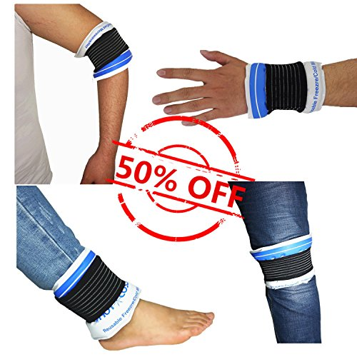 Flexible Reusable Hot Cold Pack with 2 Extra Elastic Band, Ice Therapy Wrap Great for Shoulder Knee Ankle Wrist Elbow, Multifunctional, Gel 12.6 × (Ankle Elbow Wrap)