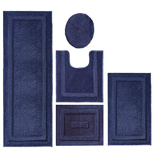 mDesign Soft Microfiber Polyester Bathroom Spa Rug Set - Water Absorbent, Machine Washable, Plush, Non-Slip - Includes 3 Rectangular Accent Rugs, Contour Mat, Toilet Lid Cover - Set of 5 - Navy Blue