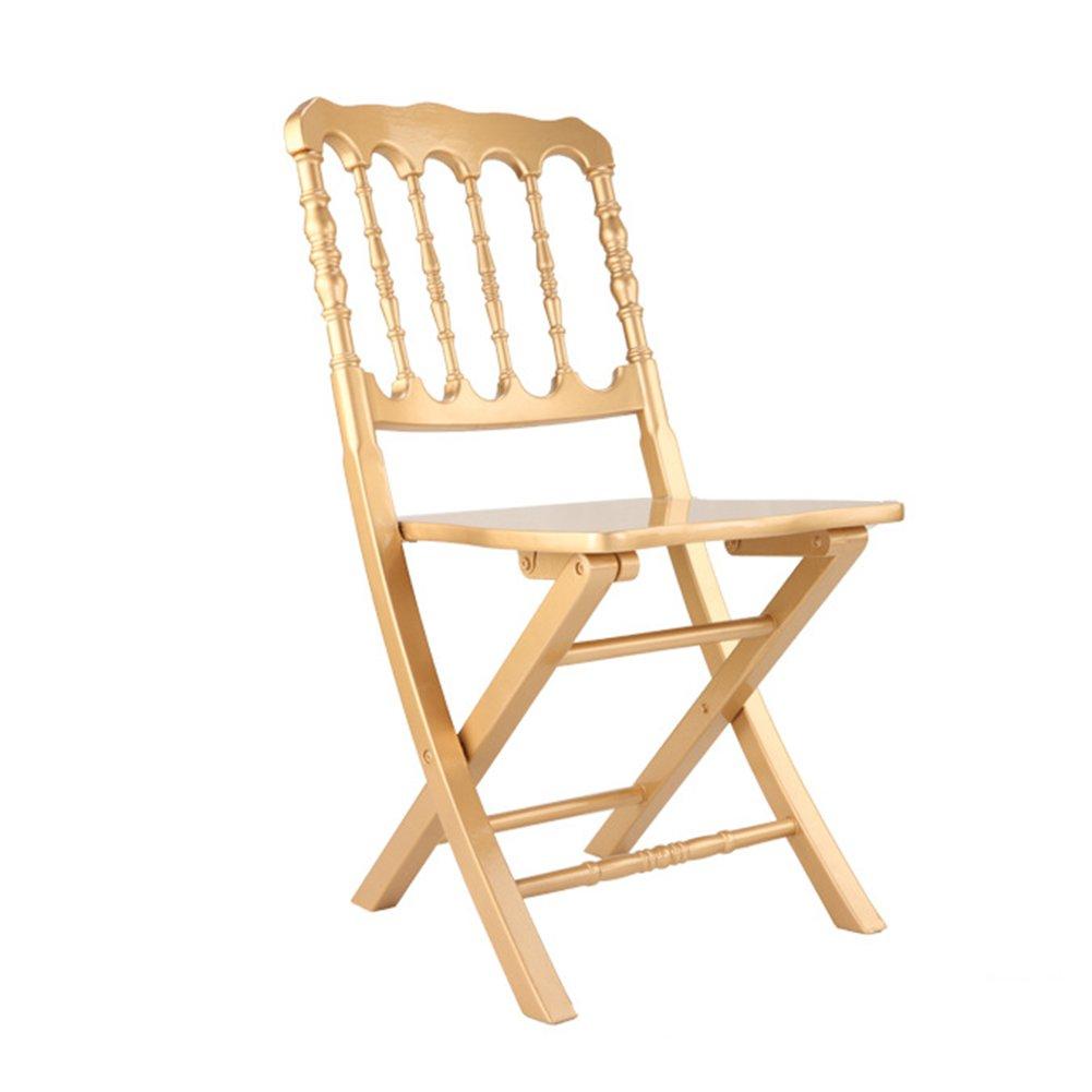 ZEMIN ダイニングチェア椅子の木の木製折り畳み 椅子ソファシートスツールテーブルバックレストポータブル折りたたみ可能なソリッドウッドノーブル、ゴールド、40x43x100CM B078RMPQY1