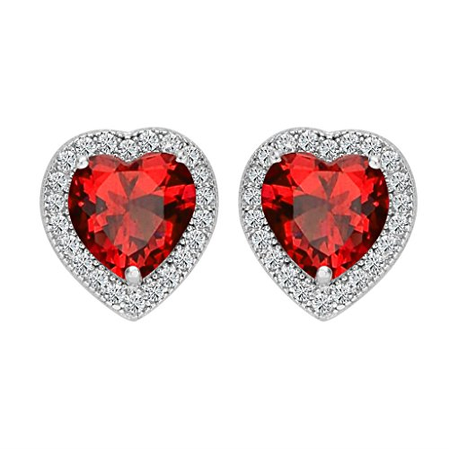 Light Siam Austrian Crystal - BriLove 925 Sterling Silver CZ Heart Stud Earrings for Women Wedding Bride Love Halo Austrian Crystal Earrings Light Siam Color July Birthstone