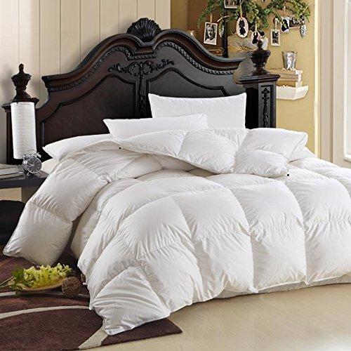 1200 Thread Count Baffle Box Light Weight Goose Down Comforter, White, Queen