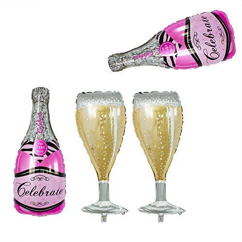 GOER 4 Pcs Champagne Bottle and Wine Goblet Glass Pink Foil Balloons,40 inch Helium Balloons for Birthday Bridal Shower Bachelorette New Years Eve Festival Celebrations Party Supplies -