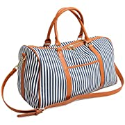 BAOSHA HB-25 Ladies Women Canvas Holdalls Weekender Bag Travel Duffel Tote Bag Weekend Overnight Travel Bag Handbags with Strips and PU Leather Decoration (Blue)