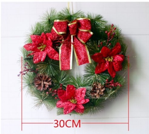Christmas wreath 30cm Christmas decorations hotel arcade door hanging scene decorate red garland (Red)