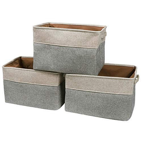 MBJERRY Foldable Storage Baskets Bins Set - 3Pack Large Storage Rectangular Canvas Fabric Organizer Shelf Baskets with Handles for Home Office Closet(Khaki/Gray, 15 L x 10.6 W x 9.4 H)