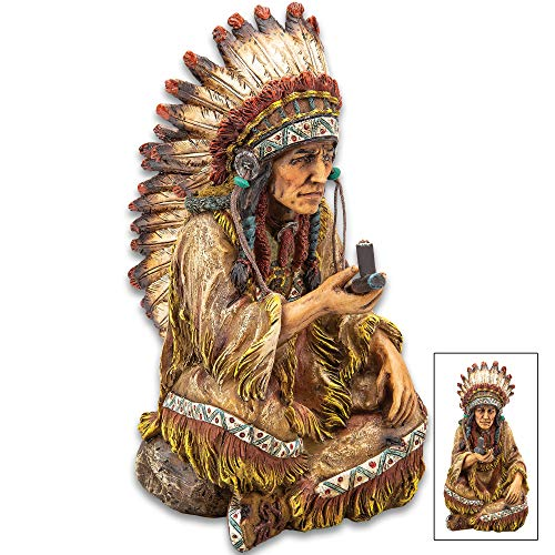 K EXCLUSIVE Native American Chief with Peace Pipe Sculpture - Crafted of Polyresin, Hand-Painted, Exceptional Detail - Dimensions 7 3/4