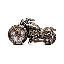 Vivian Unique Motorcycle Shape Alarm Clock Fashion Creative Plastic Motorbike Clock Home Desk Décor (Gray)